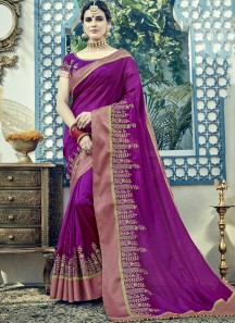 Skirt Border Style Work Saree In Soft Silk