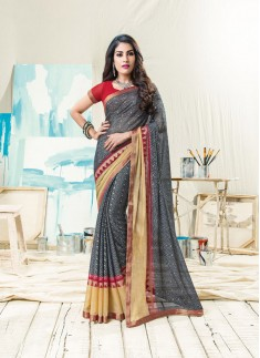 Skirt Border Stylr Saree With Contrast Blouse