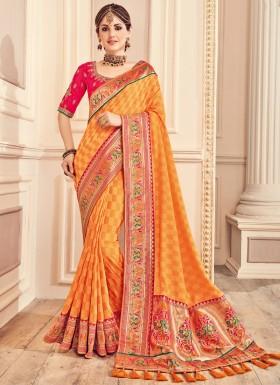 Soft Silk Saree With Heavy Work Blouse