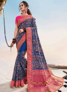 Soft Silk Traditional Saree With Contrast Work Pallu And Contrast Heavy Blouse Piece