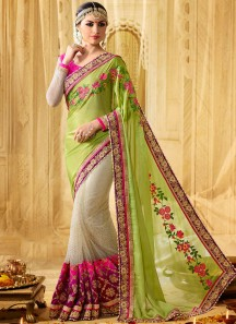 Staring Net Green and Multi Colour Patch Border Work Designer Half N Half Saree
