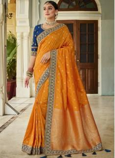 Stunning Banarasi Silk Fabric Saree WIth Contrast