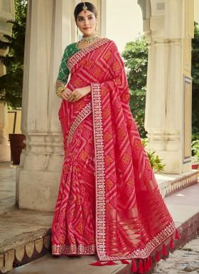 Stunning Banarasi Silk Fabric Saree WIth Contrast Heavy Work Blouse Piece