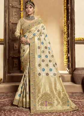 Stunning Banarasi Silk Material Saree With Heavy Work Blouse Piece