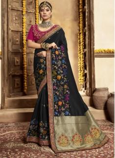 Stunning Banarasi Silk Material Saree With Heavy W