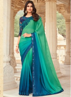 Stylish Small Border Saree With Contrast Designer Heavy Blouse Piece