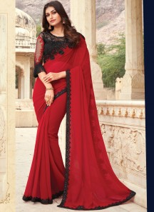 Stylish Small Border Saree With Designer Contrast Heavy Blouse Piece