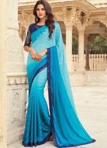 Stylish Small Border Saree With Designer Heavy Blouse Piece