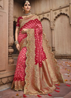Stylish Soft Banarasi Silk Material Saree With Heavy Work Blouse Piece