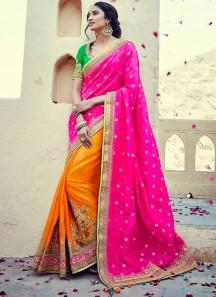 Suave Tussar Silk Hot Pink and Orange Patch Border Work Half N Half  Saree