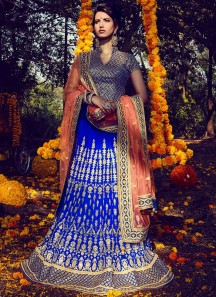 Sunshine Blue Embroidered Work Lehenga Choli