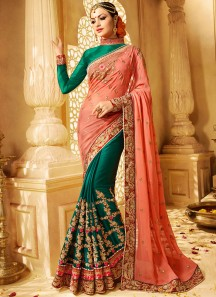 Superlative Jacquard Green and Peach Half N Half Designer Saree