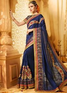 Tempting Art Silk Navy Blue Patch Border Work Designer Traditional Saree