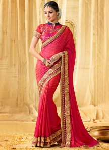 Thrilling Patch Border Work Hot Pink Banarasi Silk Classic Designer Saree