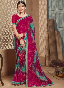 Traditional Bandhani Saree With Simple Blouse Piece