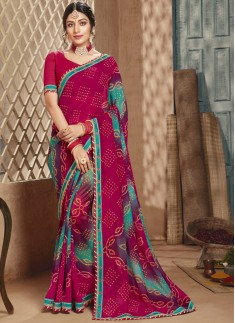 Traditional Bandhani Saree With Simple Blouse Piec