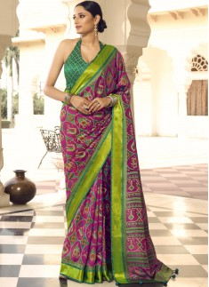 Traditional Patola Print Saree With Contrast Print