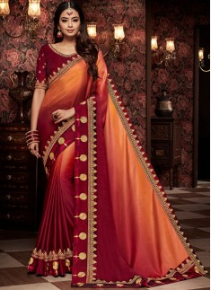 Traditional Shaded Saree With Contrast Blouse Piece
