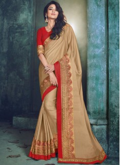 Traditional wear saree With Contrast Blouse Piece