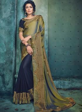Trendy Look Half Half saree With Contrast Blouse
