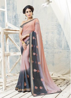 Two Shades Saree With Resham Butta Work