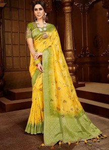 Unique Banarsi Silk Material Sree With Weaving In All over Saree Including Contrast Heavy work Blouse Piece