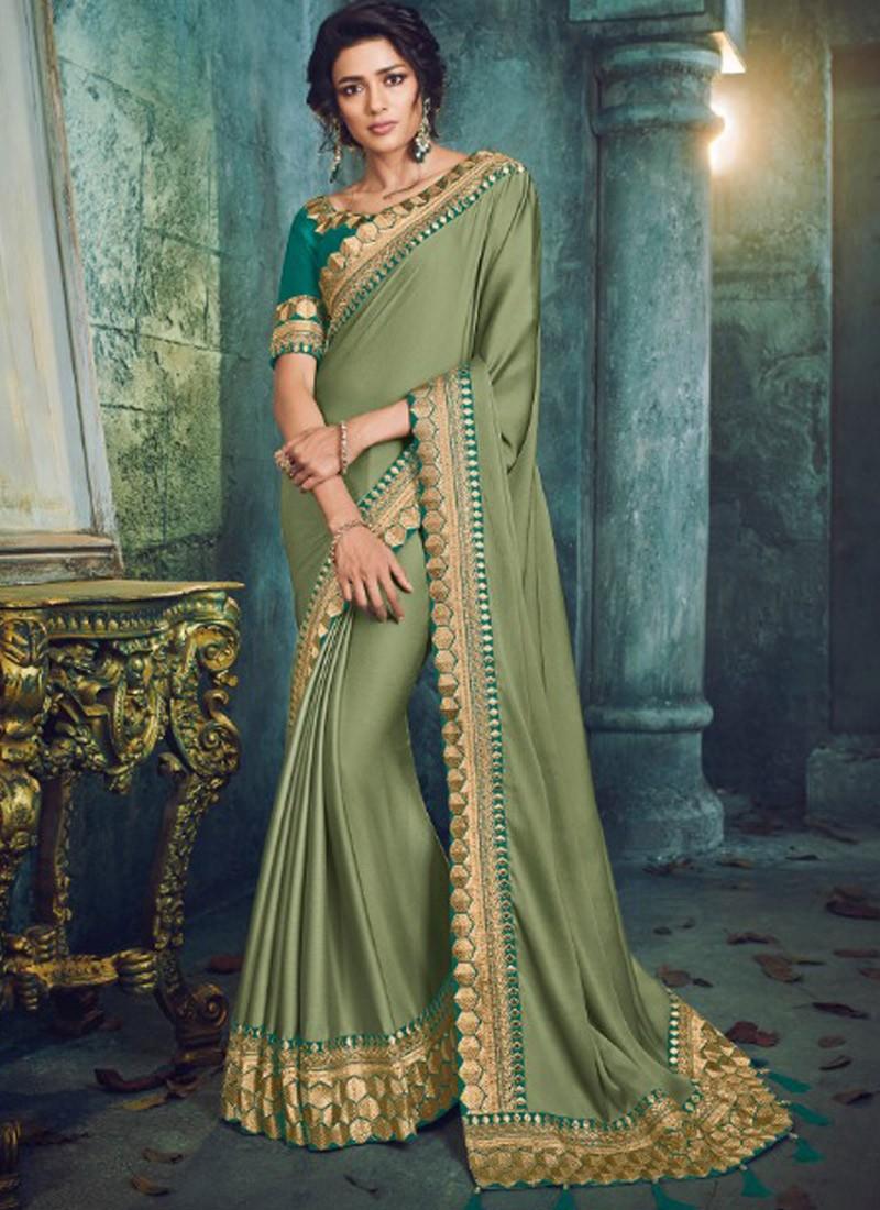 Unique Border Saree With Fancy Blouse