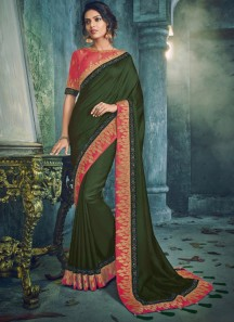 Unique Color Combination Saree With Fancy Blouse