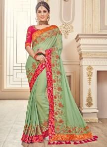 Unique Color Combination saree With heaVY bLOUSE