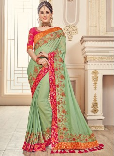 Unique Color Combination saree With heaVY bLOUSE