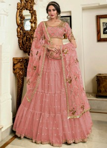 Unique Kashmiri Work Lehenga Choli In Soft Net Material