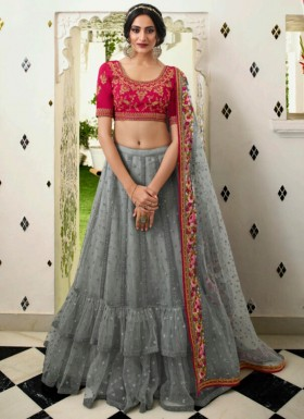 Unique Kashmiri Work Lehenga Choli In Soft Silk Material