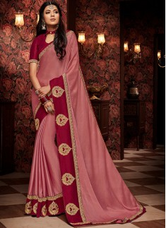 Unique Soft Silk Material Saree With Contrast Blouse