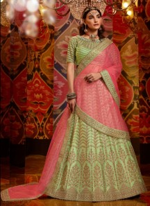 Unique Work Lehenga Choli With Contrast Net Material Dupatta