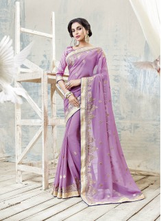 Violet Color Saree With KAsab Zari Work And Same Color Blouse