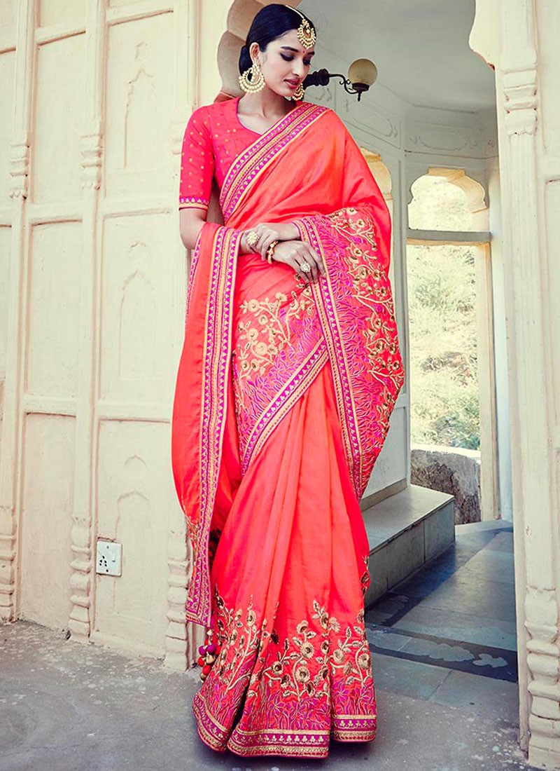 00ce7039cd5e21 Zesty Art Silk Orange and Rose Pink Embroidered Work Designer Traditional  Saree